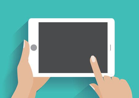 Hand touching blank screen of tablet computer. Using digital tablet pc similar to ipad, flat design concept. Eps 10 vector illustration