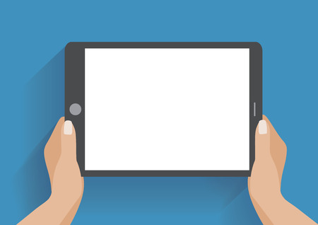 flat screen monitor: Hands holing tablet computer with blank screen. Using digital tablet pc similar to ipad, flat design concept. Eps 10 vector illustration