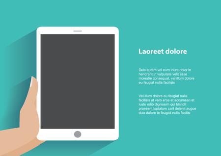 Ręcznie tabletka Holing komputera z pustym ekranem. Korzystanie cyfrowy tablet podobny do iPada, płaskiej koncepcji projektowej. Wektor EPS ilustracji 10