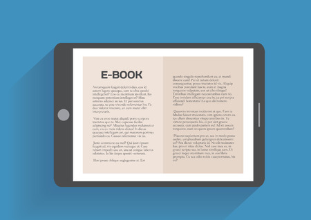 electronic book: Electronic book, flat design concept. Eps 10 vector illustration Illustration