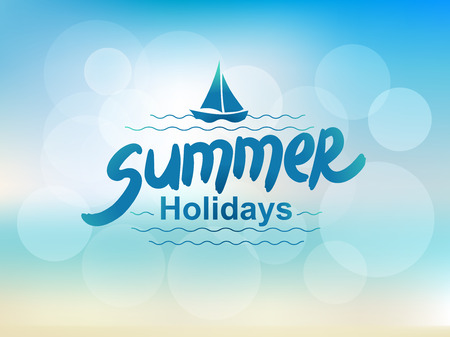 sky background: Summer holidays - typographic design. Hand drawn lettering elements. Illustration