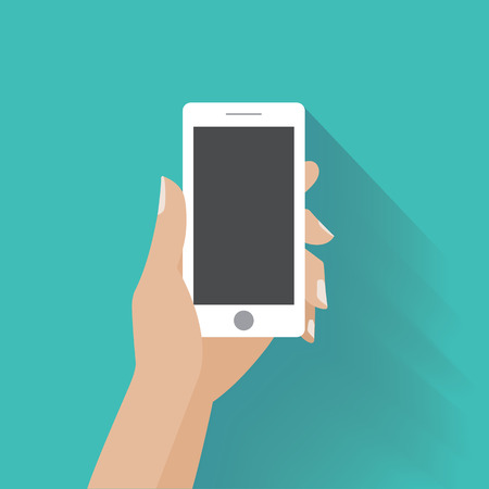 Hand holing white smartphone with blank screen. Using mobile smart phone, flat design concept.
