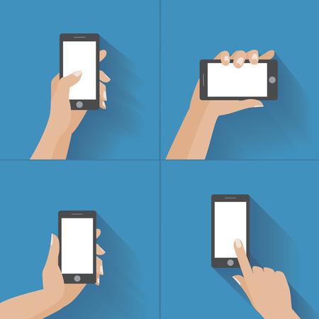 manos: Mano que agujerea tel�fono inteligente negro, tocando la pantalla en blanco. Utilizando phon m�vil inteligente, concepto de dise�o plano. Vectores