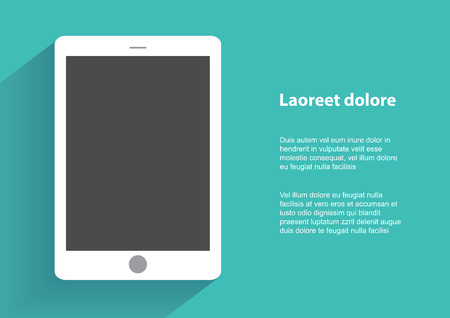 ebook: Tablet computer with blak screen.  Illustration
