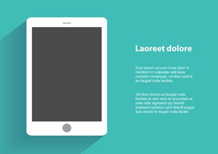ebook reader: Tablet computer with blak screen.  Illustration