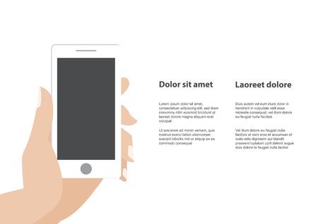 Hand touching blank screen of white smartphone.
