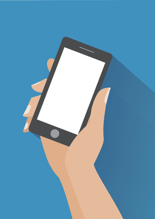 Hand holing smartphone with blank screen.  Illustration