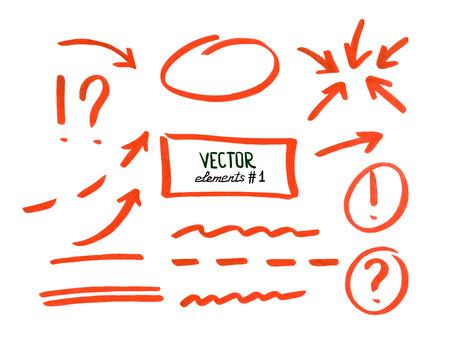 Set van correctie en hoogtepunt elementen, deel 1. cirkels, pijlen, lijnen enz. Hand getekend met viltstift. Vector illustratie.