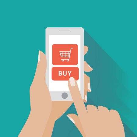 using smart phone: Hand touching smart phone with buy button on the screen. E-commerce flat design concept. Using mobile smart phone for online purchasing.  Illustration