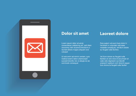 using smartphone: Smart phone with Email symbol on the screen. Using smartphone, flat design concept.