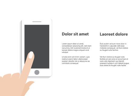 Hand wat betreft slimme telefoon met e-symbool op het scherm. vlakke design concept. Stock Illustratie