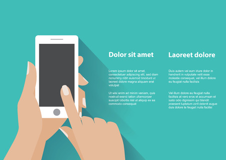 Hand holing white smartphone, touching blank screen. Using mobile smart phone, flat design concept. Eps 10 vector illustration