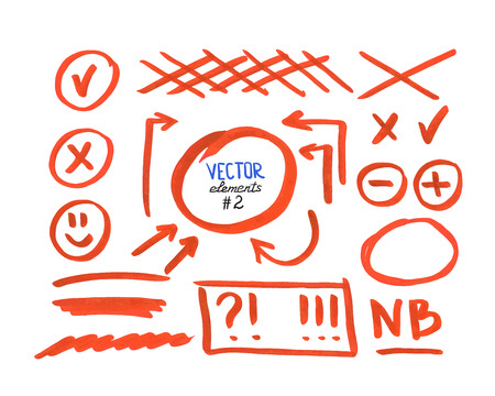 Set of correction and highlight elements, part 2. Circles, arrows, cross signs etc. Hand drawn with marker pen. Vector illustration.