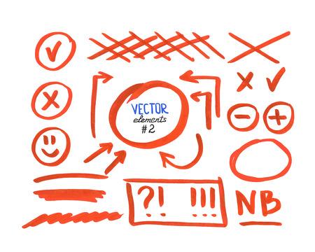 Set van correctie en markeer elementen, deel 2. Circles, pijlen, kruis tekenen etc. Hand getekend met viltstift. Vector illustratie.