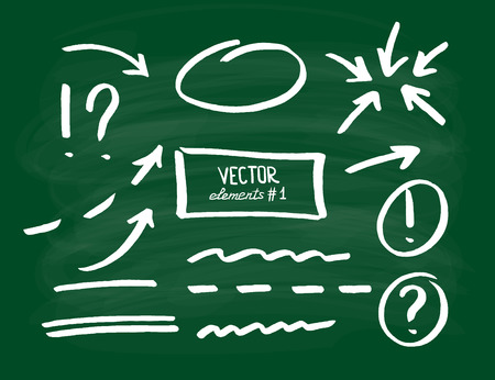 emphasis: Set of correction and highlight elements, part 1. Circles, arrows, lines etc. drawn on a school board. Vector illustration.