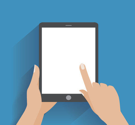 Hand touching blank screen of tablet computer.