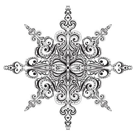 octahedral: Ornamental black and white snowflake. Tattoo pattern Illustration