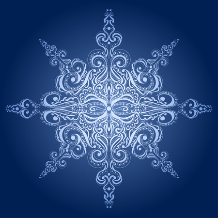 octahedral: Ornamental snowflake. Lace pattern.  Illustration