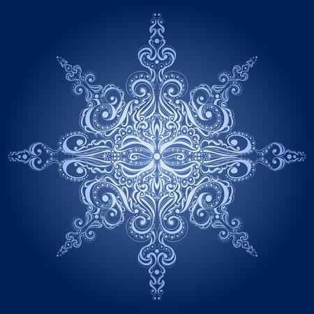 Ornamental snowflake. Lace pattern.  Illustration
