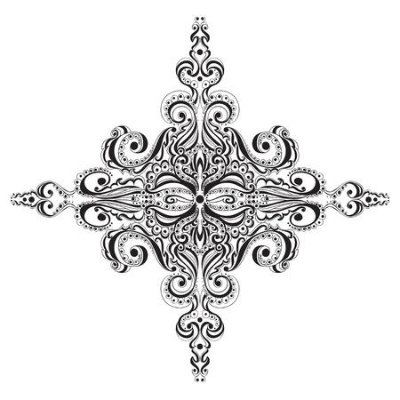 Ornamental black and white snowflake. Tattoo pattern Vector
