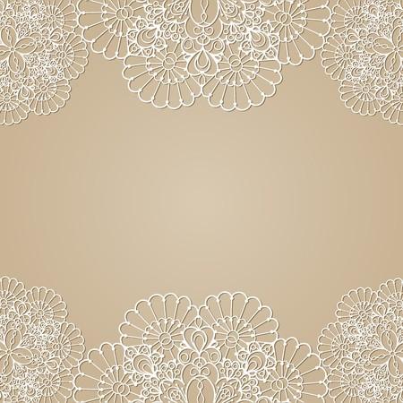 beige stof: Achtergrond met kant frame, vector illustratie