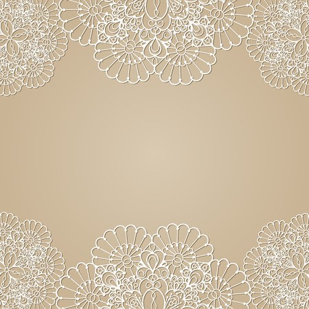 beige: Background with lace frame, vector illustration