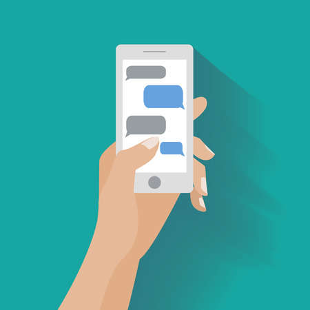 texting: Hand holing white smartphone similar to iphon with blank speech bubbles for text. Text messaging flat design concept. Eps 10 vector illustration