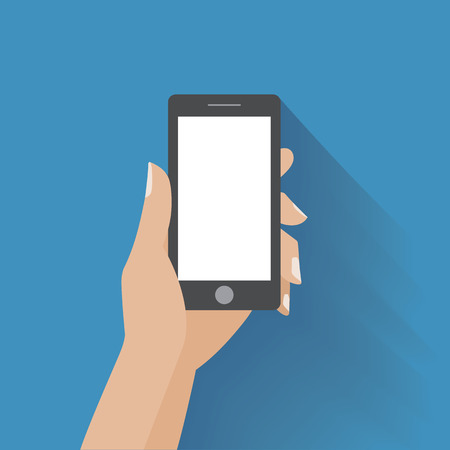Hand holing black smartphone with blank white screen. Using mobile smart phone, flat design concept. Eps 10 vector illustration