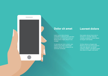 using tablet: Hand holing white smartphone with blank screen. Using mobile smart phone silimar to iphon, flat design concept. Eps 10 vector illustration Illustration