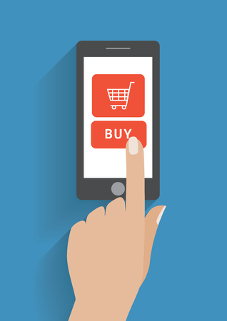 using smart phone: Hand touching smart phone with buy button on the screen. E-commerce flat design concept. Using mobile smart phone for online purchasing. Eps 10 vector