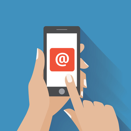 email contact: Hand touching smart phone with Email symbol on the screen. Using smartphone similar to iphone, flat design concept. Eps 10 vector.