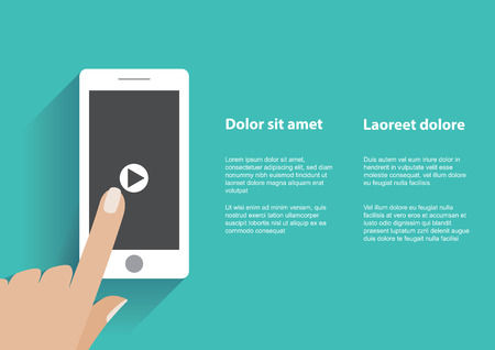 Hand touching smartphone with play button on the screen. Using mobile smart phone silimar to iphon, flat design concept. Eps 10 vector illustration