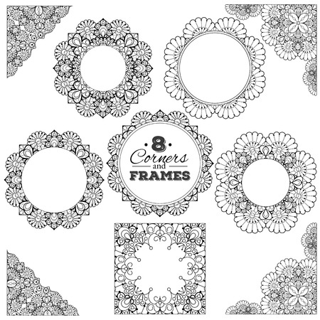 Set of lace frames and corners with transparent background.