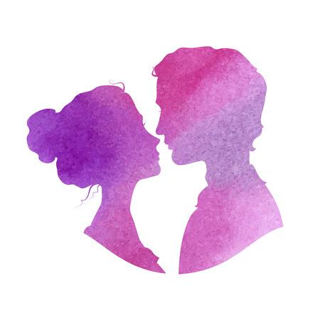 innamorati che si baciano: Sagome profilo di uomo e donna.