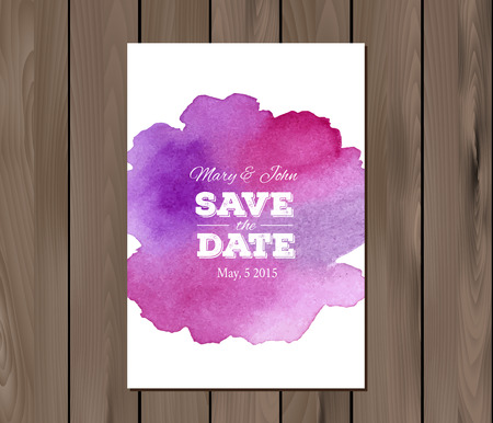 wedding table decor: Save the date wedding invitation with watercolor stain and typographic elements.