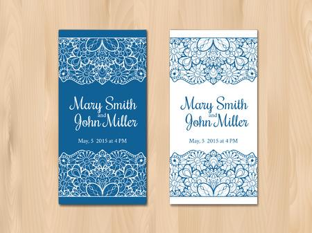 wedding table decor: Wedding invitation, card template. Vintage lace design.