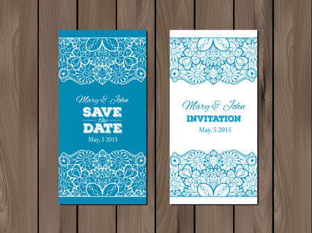 wedding table decor: Wedding invitation, Save the date card template on a wooden background.