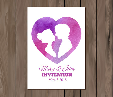 ombre: Wedding invitation with watercolor elements and profile silhouettes of man and woman.