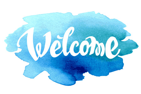 Welcome hand drawn lettering against watercolor background.  일러스트