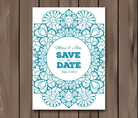 wedding table decor: Wedding invitation. Save the date card template on a wooden background.