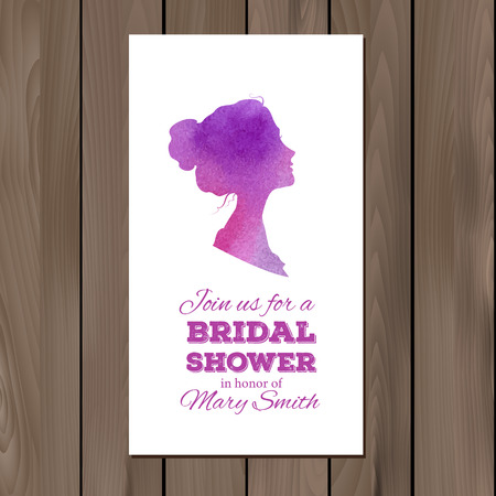ombre: Bridal shower invitation with watercolor elements and profile silhouettes of man and woman.