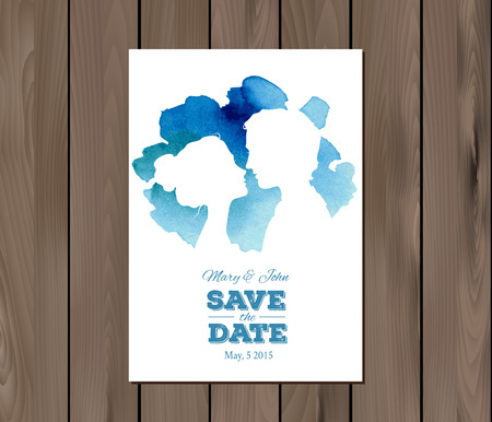 ombre: Save the date wedding invitation with watercolor elements and profile silhouettes of man and woman.  Illustration