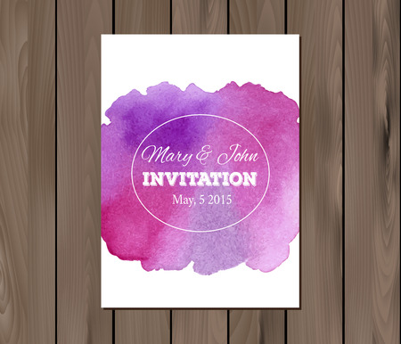 wedding table decor: wedding invitation with watercolor stain and typographic elements.  Illustration