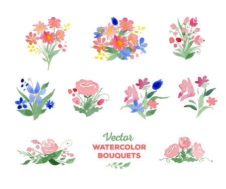 page decoration: aquarel boeketten. Geweldig voor bruiloft en verjaardag uitnodigingen, moeders dag kaarten, pagina decoratie.