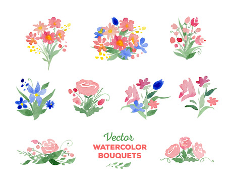 flower borders: watercolor floral bouquets. Great for wedding and birthday invitations, Mothers day cards, page decoration.