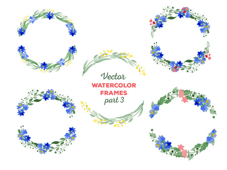 watercolor frames. Wreaths with floral elements. Great for wedding and birthday invitations, Mothers day cards, page decoration.  イラスト・ベクター素材