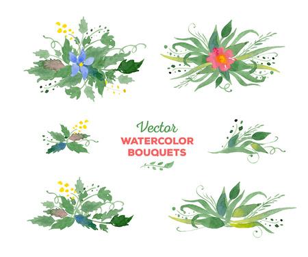 bordure de page: aquarelle bouquets de fleurs. Idéal pour les mariages et les anniversaires des invitations, cartes mères de jour, décoration de page.