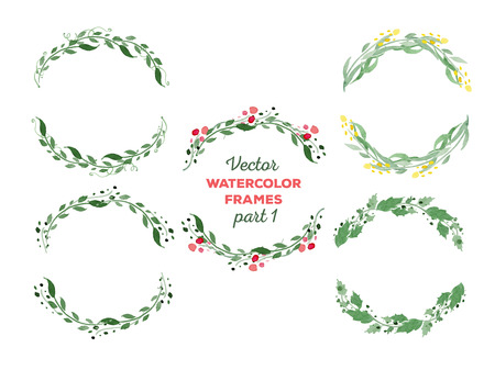 watercolor frames. Wreaths with floral elements. Great for wedding and birthday invitations, Mothers day cards, page decoration. Illusztráció