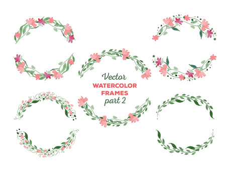 watercolor frames. Wreaths with floral elements. Great for wedding and birthday invitations, Mothers day cards, page decoration. 向量圖像