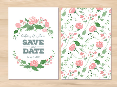 pink swirl: Save the date wedding invitation with watercolor flowers and typographic elements.